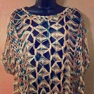 Umgee Casual crochet see through short sleeve top